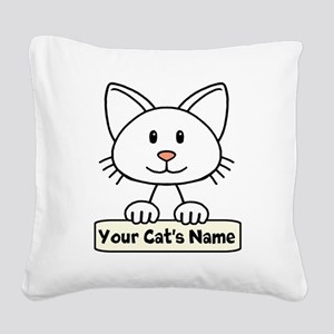 Personalized White Cat Square Canvas Pillow