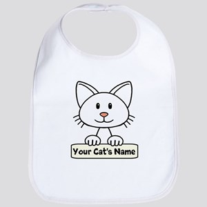 Personalized White Cat Bib