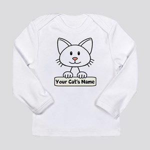 Personalized White Cat Long Sleeve Infant T-Shirt