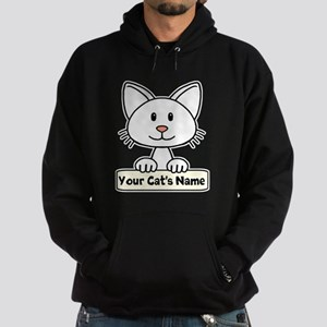 Personalized White Cat Hoodie (dark)