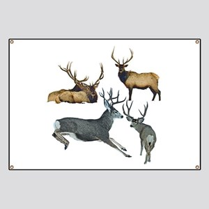 Bull elk and buck deer 17 Banner
