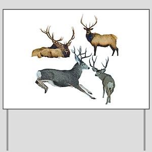 Bull elk and buck deer 17 Yard Sign