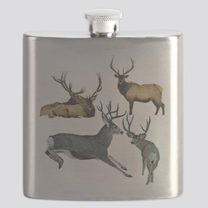 Bull elk and buck deer 17 Flask