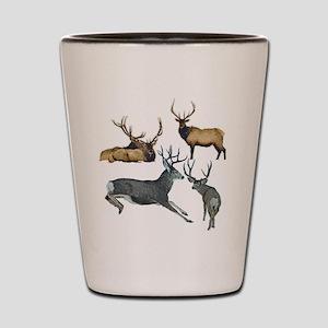 Bull elk and buck deer 17 Shot Glass