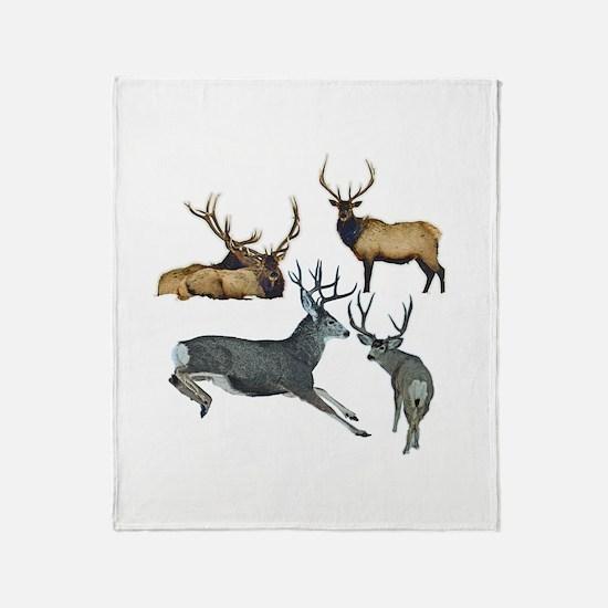 Bull elk and buck deer 17 Throw Blanket