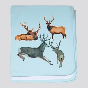 Bull elk and buck deer 17 baby blanket