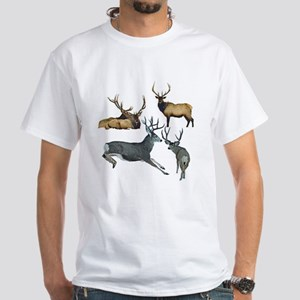 Bull elk and buck deer 17 White T-Shirt