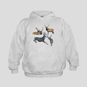 Bull elk and buck deer 17 Kids Hoodie