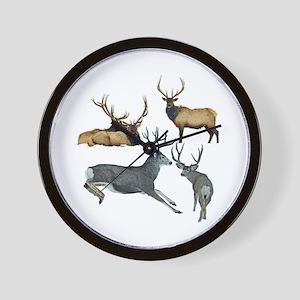 Bull elk and buck deer 17 Wall Clock