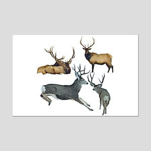 Bull elk and buck deer 17 Mini Poster Print