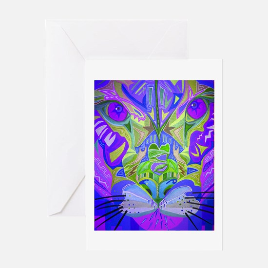 Abstract Cougar - Purple Greeting Cards
