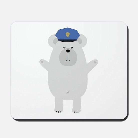Happy Polar Bear Officer Mousepad