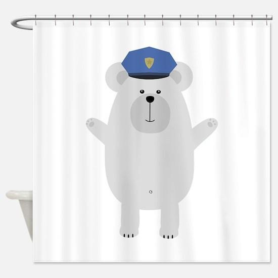 Happy Polar Bear Officer Shower Curtain
