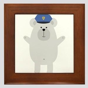 Happy Polar Bear Officer Framed Tile