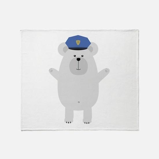 Happy Polar Bear Officer Throw Blanket