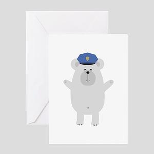 Happy Polar Bear Officer Greeting Cards