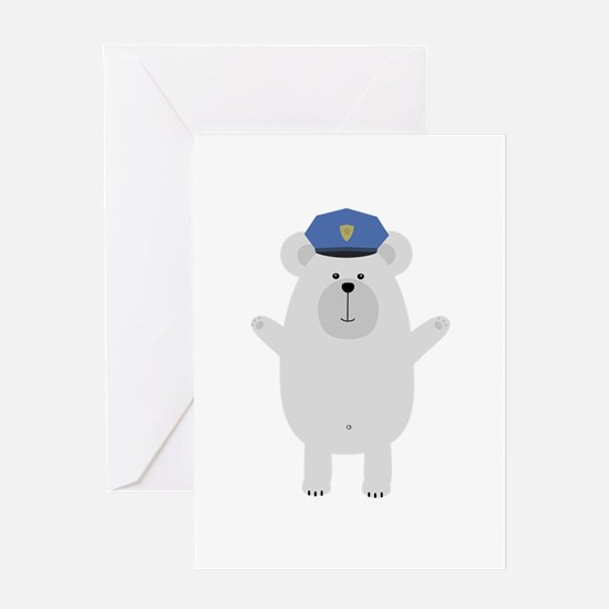 Happy Polar Bear Officer Greeting Cards