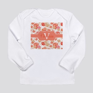 Coral Floral Monogram Long Sleeve T-Shirt