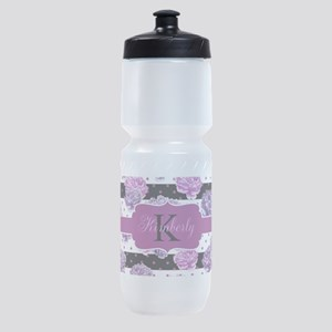 Purple Flower Stripes Monogram Sports Bottle