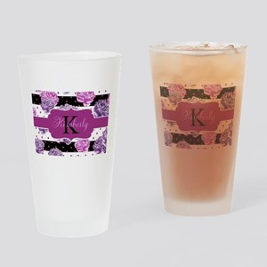 Purple Flower Stripes Monogram Drinking Glass