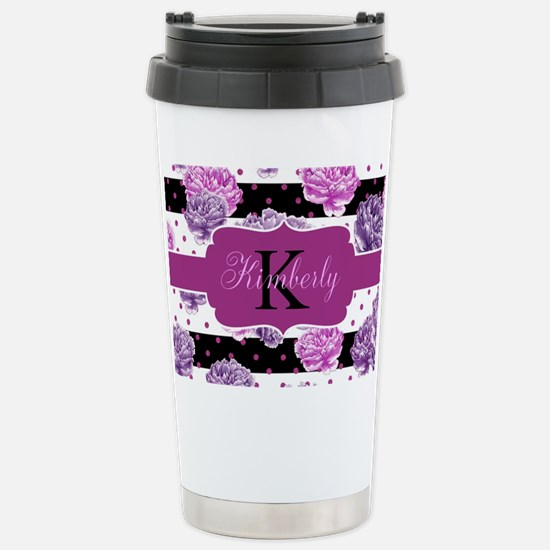 Purple Flower Stripes Monogram Travel Mug