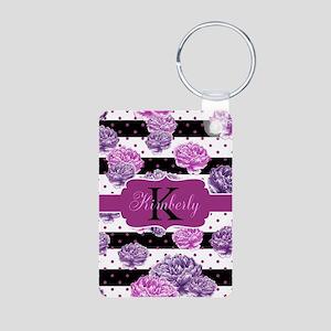 Purple Flower Stripes Monogram Keychains