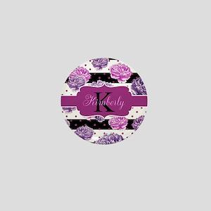 Purple Flower Stripes Monogram Mini Button (10 pac