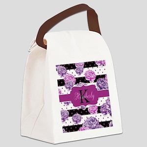 Purple Flower Stripes Monogram Canvas Lunch Bag