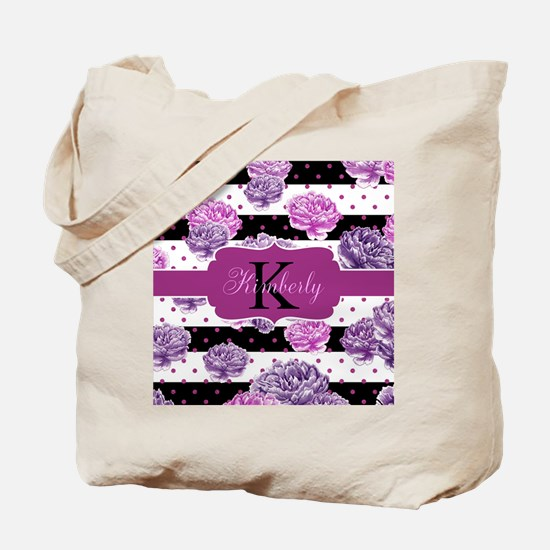 Purple Flower Stripes Monogram Tote Bag
