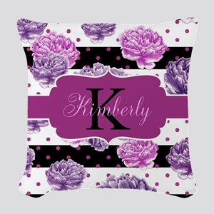 Purple Flower Stripes Monogram Woven Throw Pillow