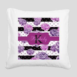 Purple Flower Stripes Monogram Square Canvas Pillo
