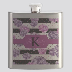 Purple Flower Stripes Monogram Flask