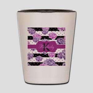 Purple Flower Stripes Monogram Shot Glass