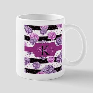 Purple Flower Stripes Monogram Mugs