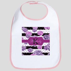 Purple Flower Stripes Monogram Baby Bib