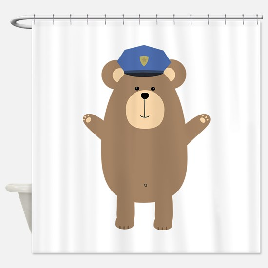 Happy Police Officer Bear Shower Curtain