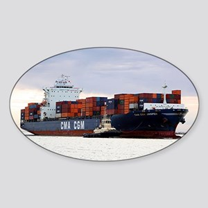 Container cargo ship and tug Sticker