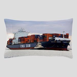Container cargo ship and tug Pillow Case