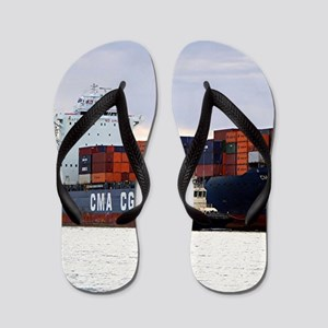 Container cargo ship and tug Flip Flops