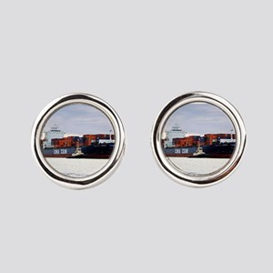 Container cargo ship and tug Round Cufflinks
