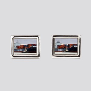 Container cargo ship and tug Rectangular Cufflinks