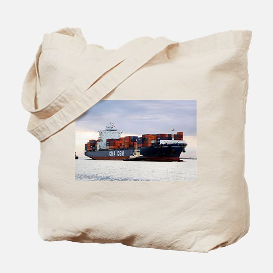 Container cargo ship and tug Tote Bag