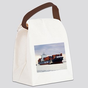 Container cargo ship and tug Canvas Lunch Bag