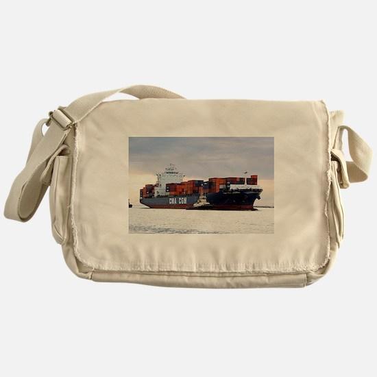 Container cargo ship and tug Messenger Bag