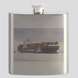 Container cargo ship and tug Flask