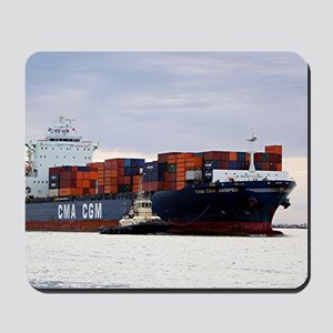 Container cargo ship and tug Mousepad