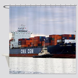 Container cargo ship and tug Shower Curtain