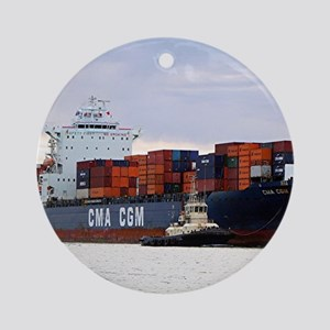Container cargo ship and tug Round Ornament