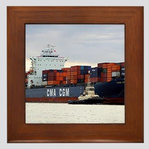 Container cargo ship and tug Framed Tile