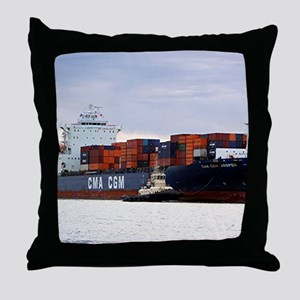 Container cargo ship and tug Throw Pillow